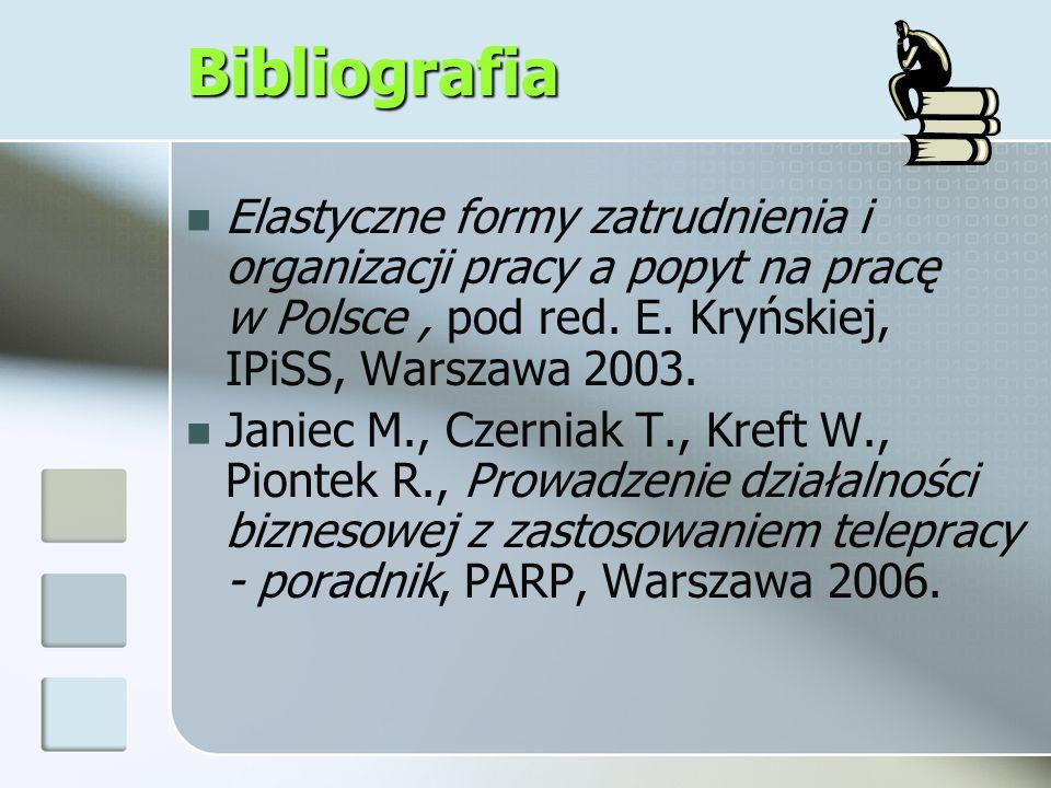 Bibliografia Elastyczne formy zatrudnienia i organizacji pracy a popyt na pracę w Polsce, pod red. E. Kryńskiej, IPiSS, Warszawa 2003. Janiec M., Czer