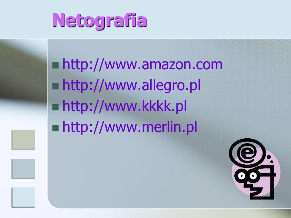 Netografia http://www.amazon.com http://www.allegro.pl http://www.kkkk.pl http://www.merlin.pl