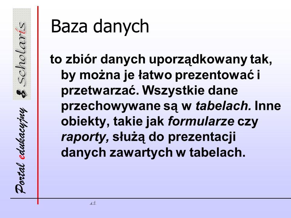 Portal edukacyjny A.Ś. Baza danych to zbiór danych uporządkowany tak, by można je łatwo prezentować i przetwarzać. Wszystkie dane przechowywane są w t
