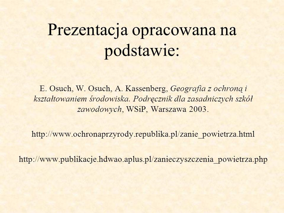 Prezentacja opracowana na podstawie: E. Osuch, W. Osuch, A. Kassenberg, Geografia z ochroną i kształtowaniem środowiska. Podręcznik dla zasadniczych s