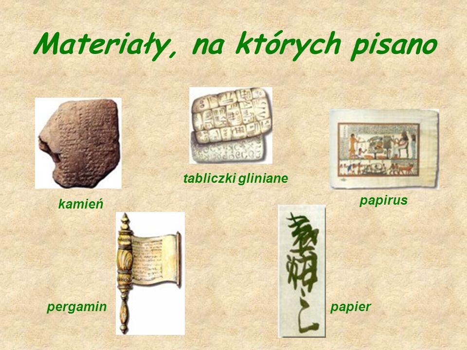 Materiały, na których pisano kamień tabliczki gliniane papirus pergaminpapier