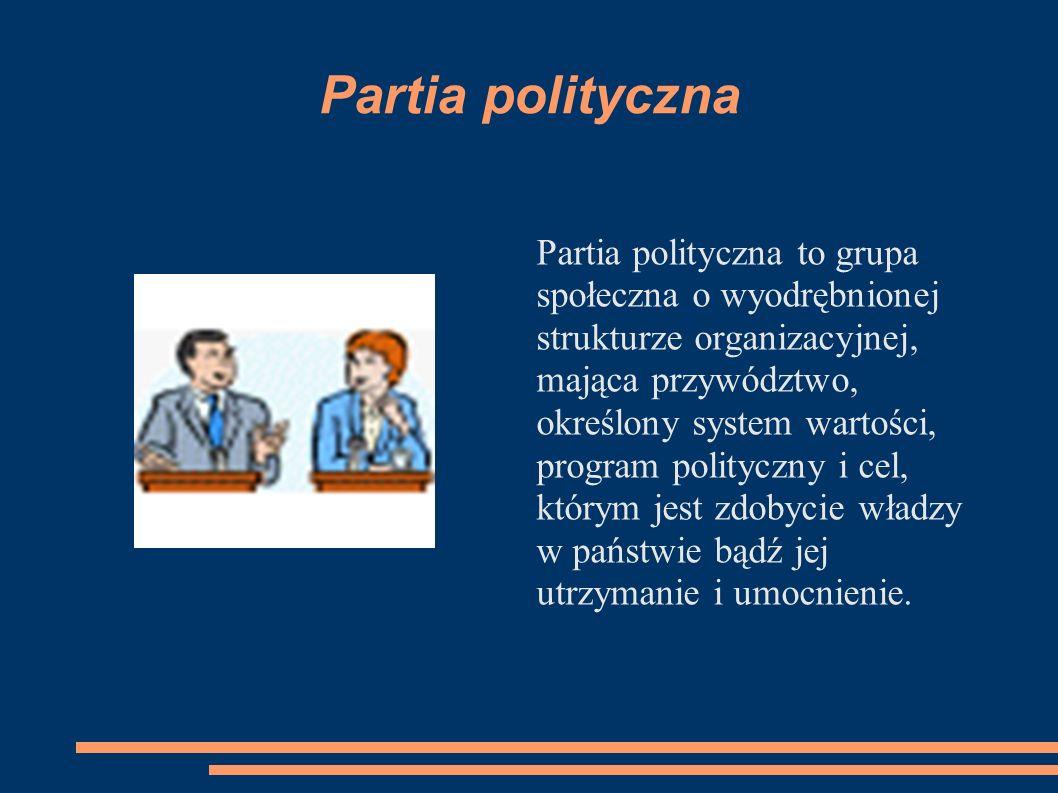 Partia polityczna Partia polityczna to grupa społeczna o wyodrębnionej strukturze organizacyjnej, mająca przywództwo, określony system wartości, progr