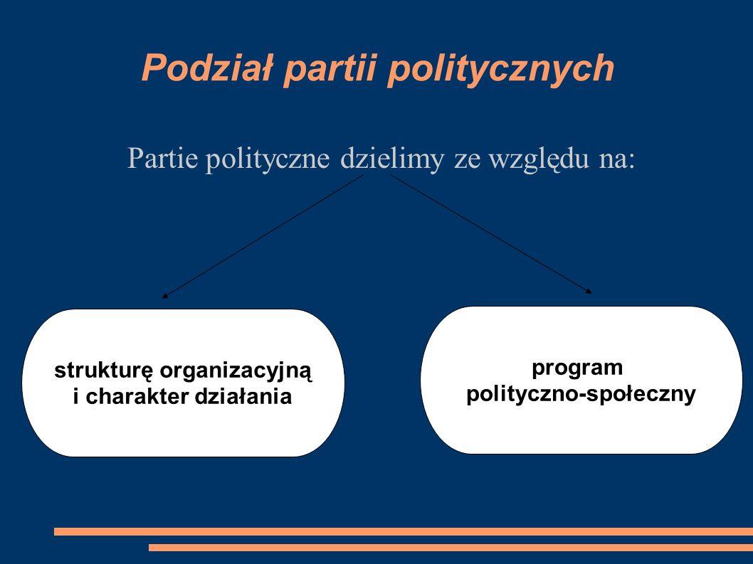 Podział partii politycznych Partie polityczne dzielimy ze względu na: strukturę organizacyjną i charakter działania program polityczno-społeczny