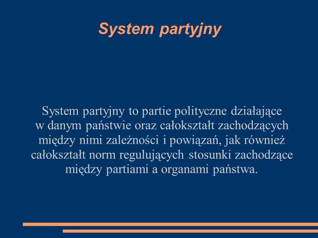 System partyjny System partyjny to partie polityczne działające w danym państwie oraz całokształt zachodzących między nimi zależności i powiązań, jak