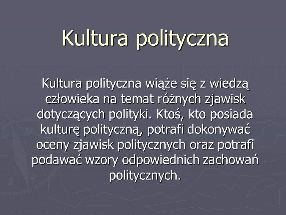 Kultura polityczna Kultura polityczna wiąże się z wiedzą człowieka na temat różnych zjawisk dotyczących polityki. Ktoś, kto posiada kulturę polityczną