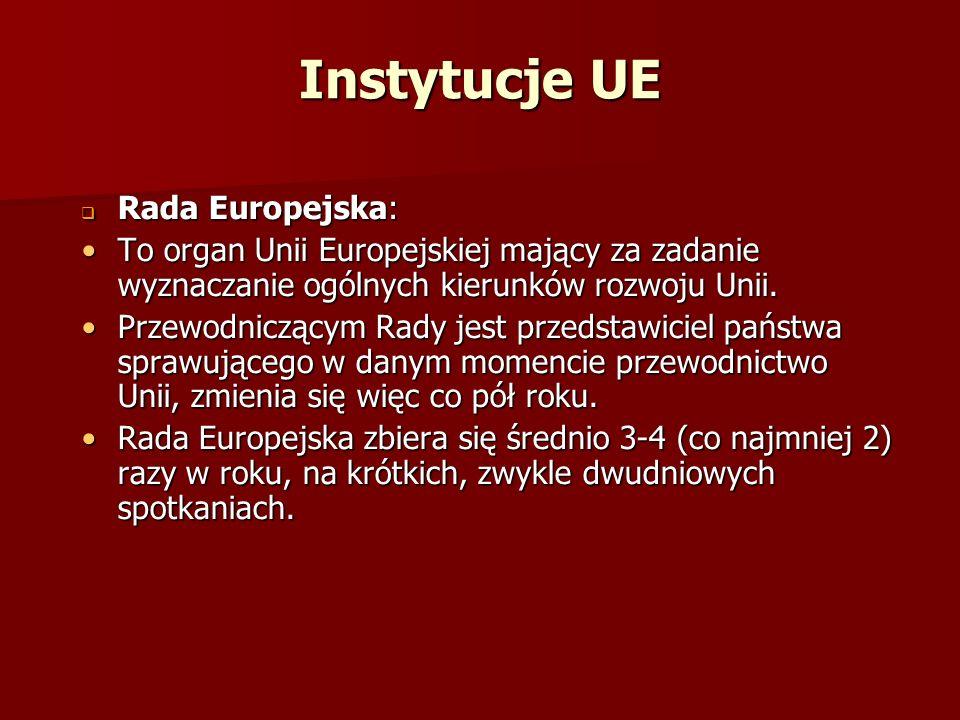 Instytucje UE Rada Europejska: Rada Europejska: To organ Unii Europejskiej mający za zadanie wyznaczanie ogólnych kierunków rozwoju Unii.To organ Unii