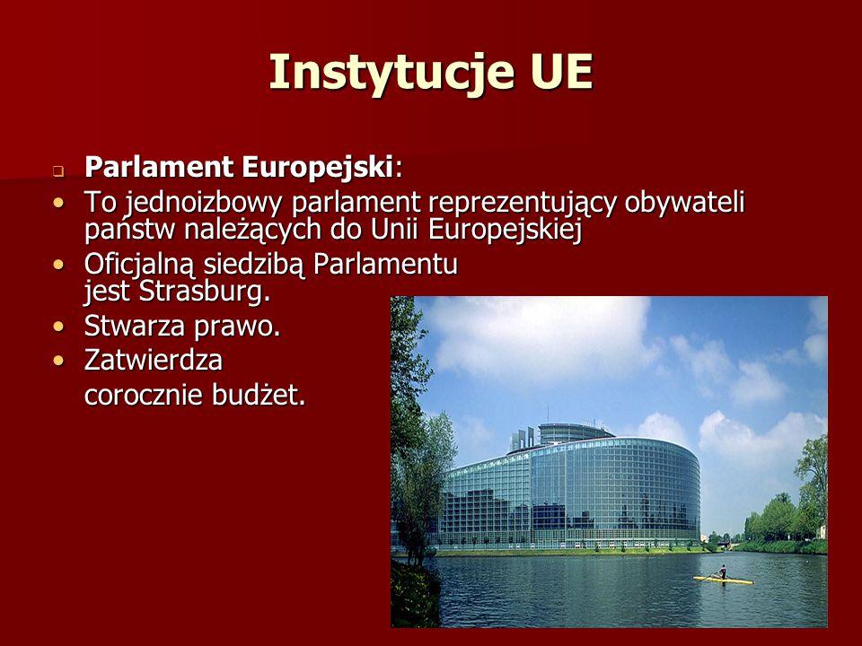 Instytucje UE Parlament Europejski: Parlament Europejski: To jednoizbowy parlament reprezentujący obywateli państw należących do Unii EuropejskiejTo j