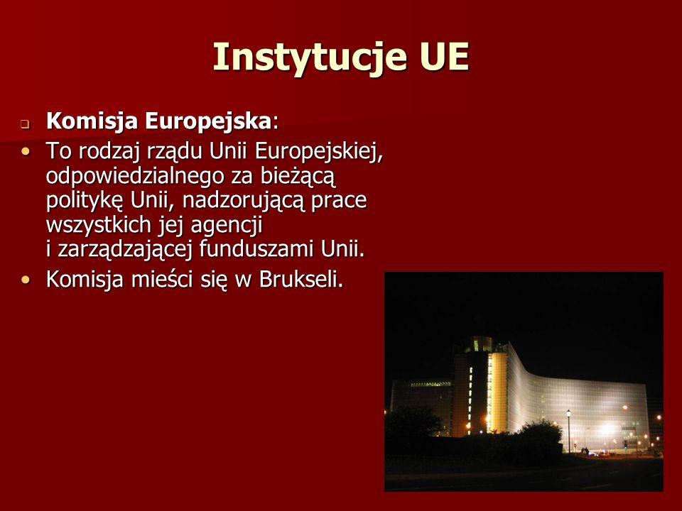 Instytucje UE Komisja Europejska: Komisja Europejska: To rodzaj rządu Unii Europejskiej, odpowiedzialnego za bieżącą politykę Unii, nadzorującą prace