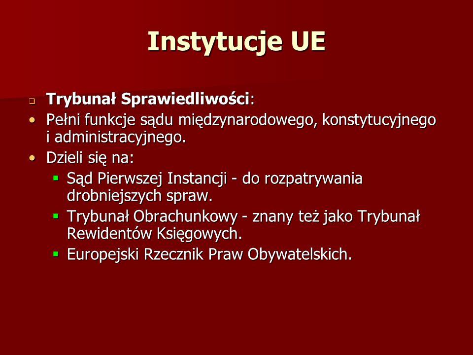 Instytucje UE Trybunał Sprawiedliwości: Trybunał Sprawiedliwości: Pełni funkcje sądu międzynarodowego, konstytucyjnego i administracyjnego.Pełni funkc
