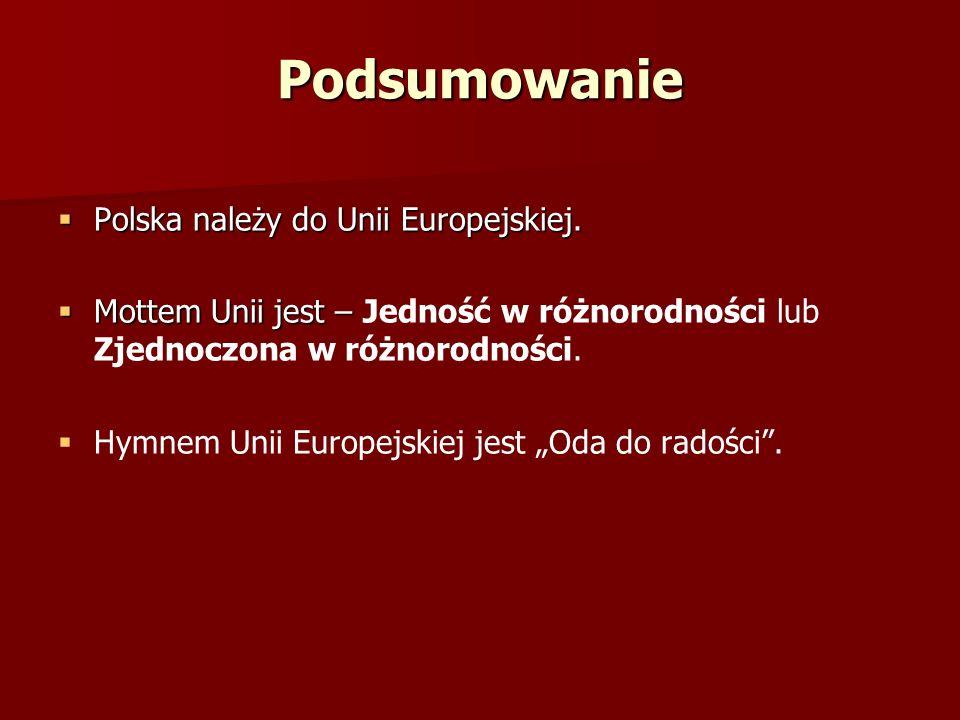 Podsumowanie Polska należy do Unii Europejskiej. Polska należy do Unii Europejskiej. Mottem Unii jest – Mottem Unii jest – Jedność w różnorodności lub