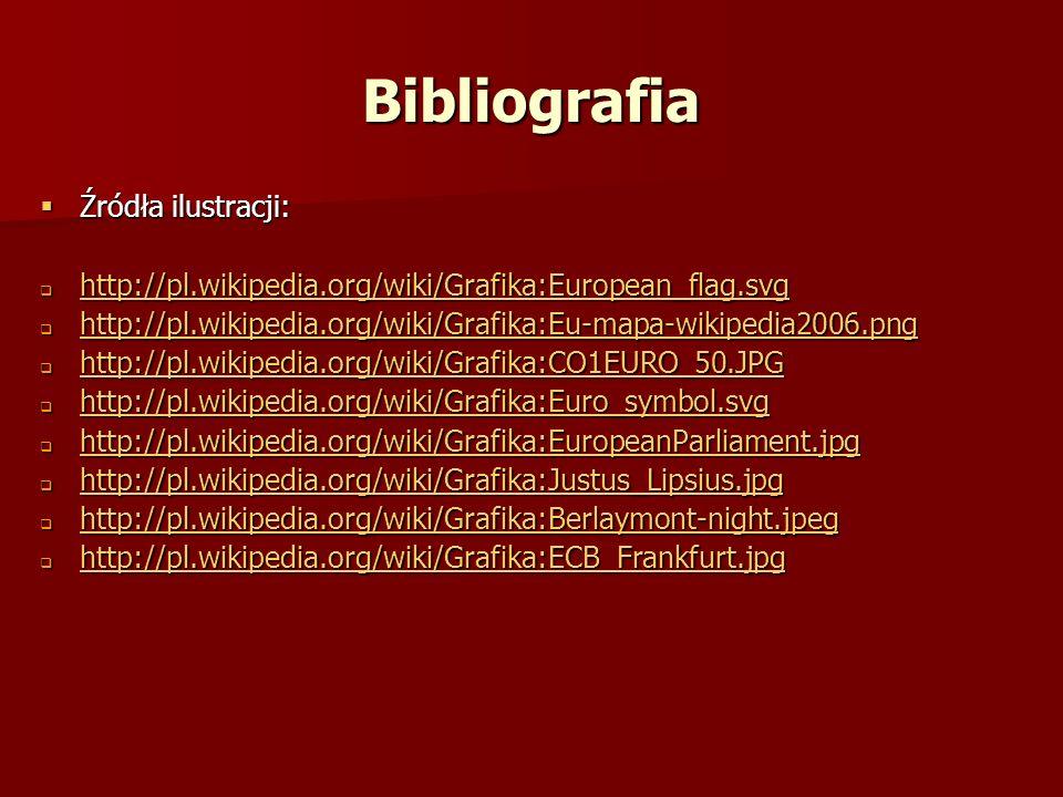 Bibliografia Źródła ilustracji: Źródła ilustracji: http://pl.wikipedia.org/wiki/Grafika:European_flag.svg http://pl.wikipedia.org/wiki/Grafika:Europea