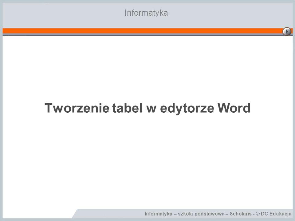 Informatyka – szkoła podstawowa – Scholaris - © DC Edukacja Tworzenie tabel w edytorze Word Informatyka
