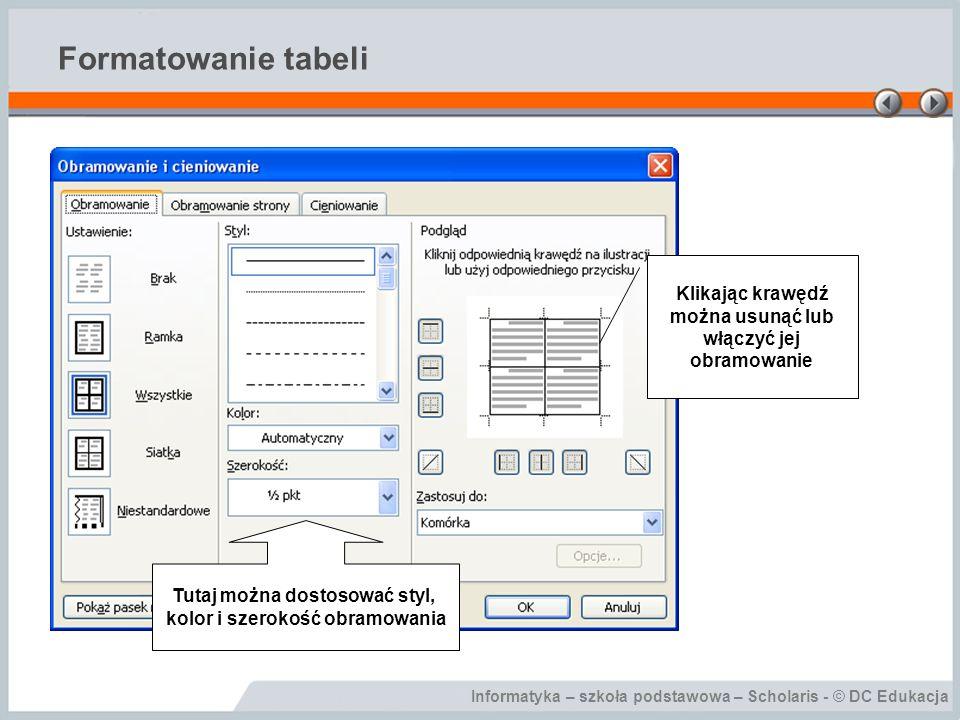 Informatyka – szkoła podstawowa – Scholaris - © DC Edukacja Formatowanie tabeli Klikając krawędź można usunąć lub włączyć jej obramowanie Tutaj można