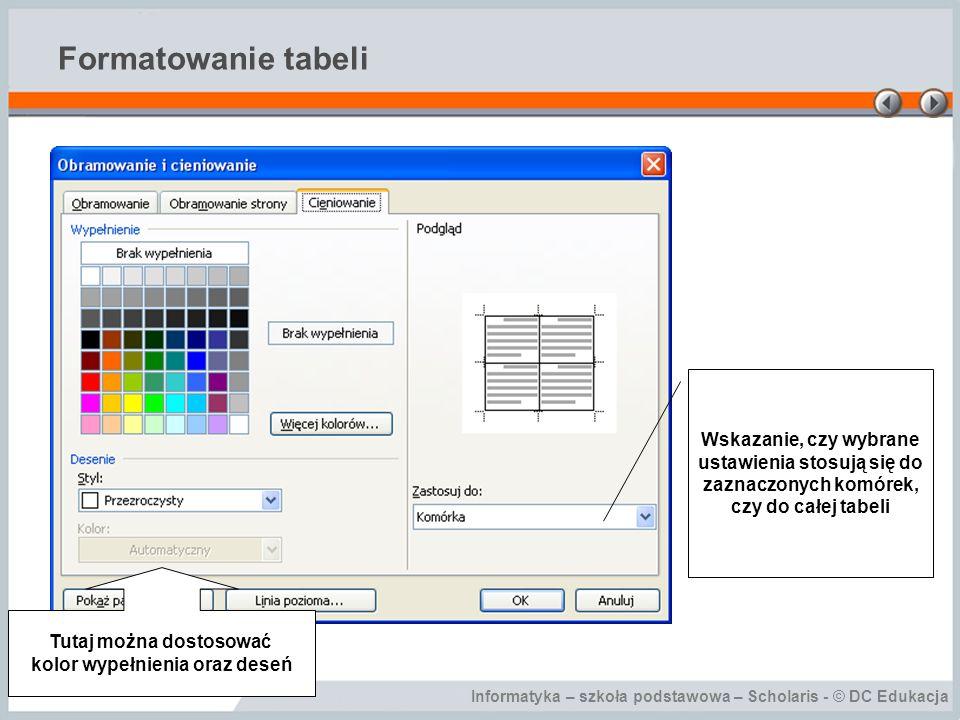Informatyka – szkoła podstawowa – Scholaris - © DC Edukacja Formatowanie tabeli Tutaj można dostosować kolor wypełnienia oraz deseń Wskazanie, czy wybrane ustawienia stosują się do zaznaczonych komórek, czy do całej tabeli