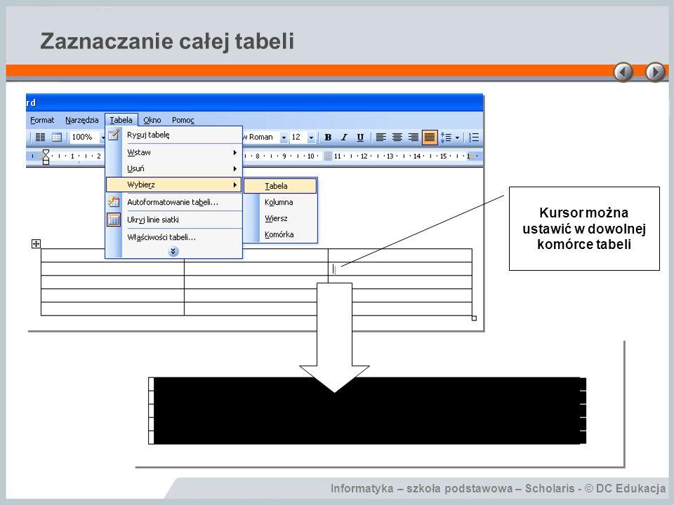 Informatyka – szkoła podstawowa – Scholaris - © DC Edukacja Zaznaczanie całej tabeli Kursor można ustawić w dowolnej komórce tabeli