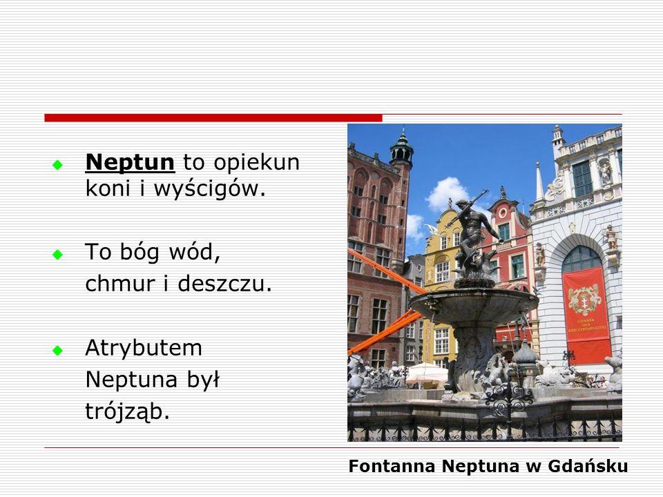 Neptun to opiekun koni i wyścigów. To bóg wód, chmur i deszczu. Atrybutem Neptuna był trójząb. Fontanna Neptuna w Gdańsku