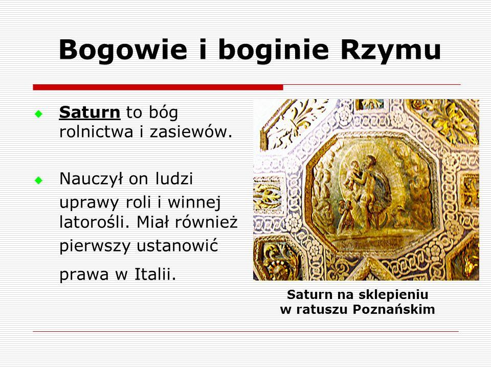 Saturn to bóg rolnictwa i zasiewów. Nauczył on ludzi uprawy roli i winnej latorośli. Miał również pierwszy ustanowić prawa w Italii. Saturn na sklepie