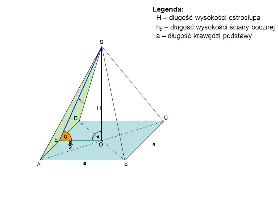 A B C D S H O a a E a 2 Legenda: H – długość wysokości ostrosłupa h b – długość wysokości ściany bocznej hbhb α S H O E a 2 h b α a – długość krawędzi