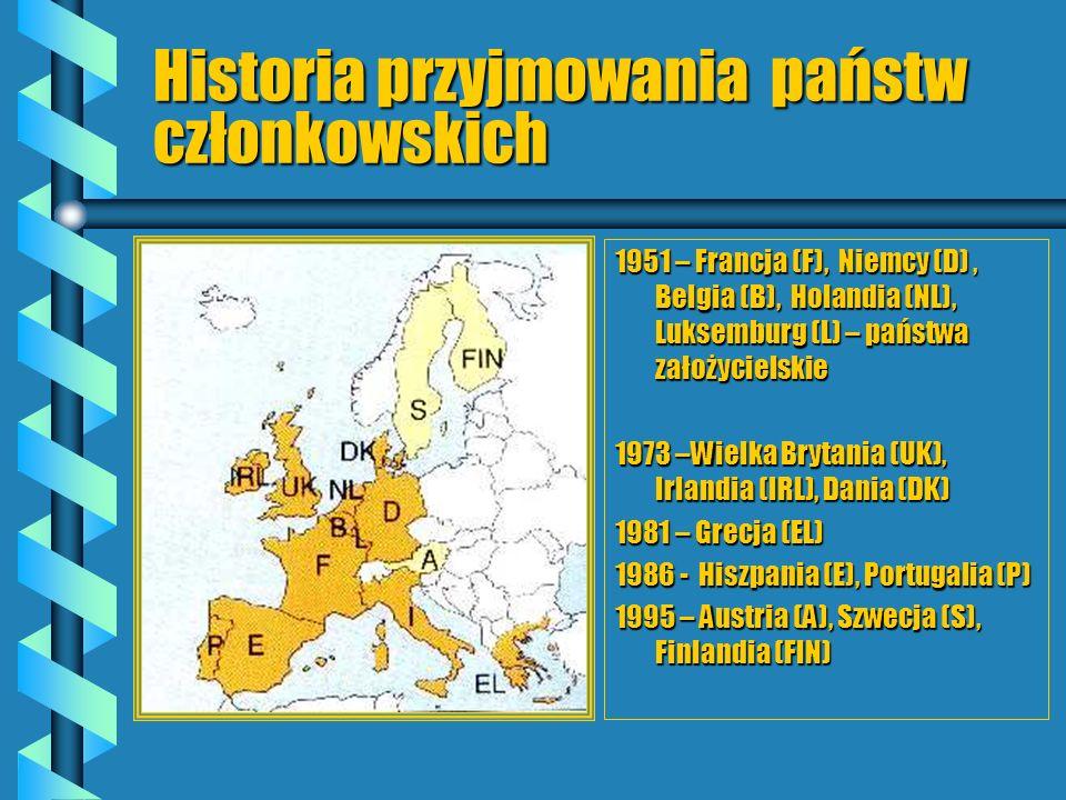 Historia przyjmowania państw członkowskich 1951 – Francja (F), Niemcy (D), Belgia (B), Holandia (NL), Luksemburg (L) – państwa założycielskie 1973 –Wi