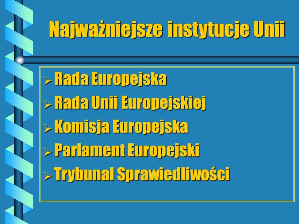 Najważniejsze instytucje Unii Rada Europejska Rada Europejska Rada Unii Europejskiej Rada Unii Europejskiej Komisja Europejska Komisja Europejska Parl