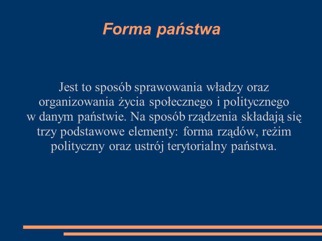 Forma państwa Jest to sposób sprawowania władzy oraz organizowania życia społecznego i politycznego w danym państwie. Na sposób rządzenia składają się