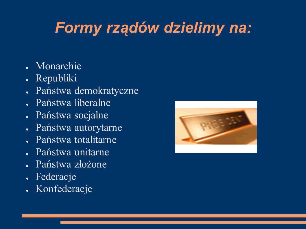 Systemy rządów dzielimy na: SYSTEMY RZĄDÓW parlamentarno-gabinetowy prezydencko-parlamentarny Kanclerski