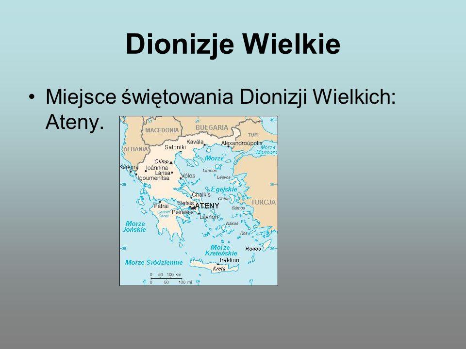 Dionizje Wielkie Pierwszy dzień: Składanie ofiary z kozła Dionizosowi.
