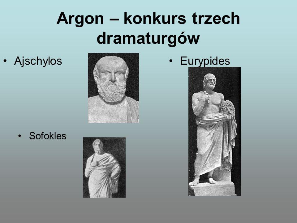 Argon – konkurs trzech dramaturgów Sofokles AjschylosEurypides