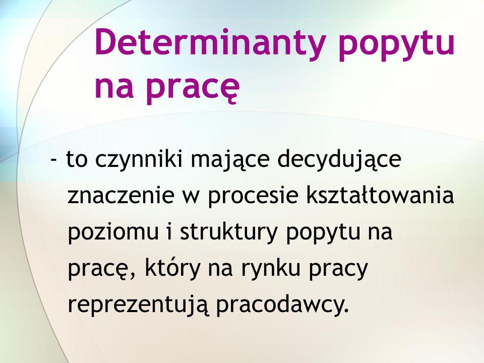 Determinanty popytu na pracę KOSZT PRACY ILOŚĆ PRACY - to czynniki mające decydujące znaczenie w procesie kształtowania poziomu i struktury popytu na