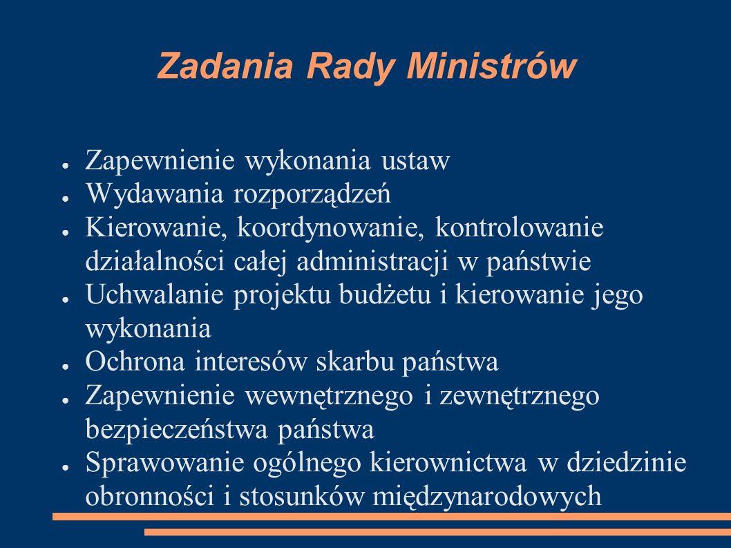 Zadania Rady Ministrów Zapewnienie wykonania ustaw Wydawania rozporządzeń Kierowanie, koordynowanie, kontrolowanie działalności całej administracji w