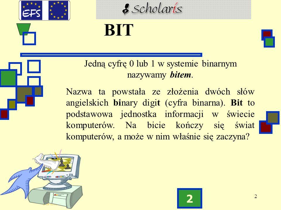 2 Danuta Stanek 2 BIT Jedną cyfrę 0 lub 1 w systemie binarnym nazywamy bitem.