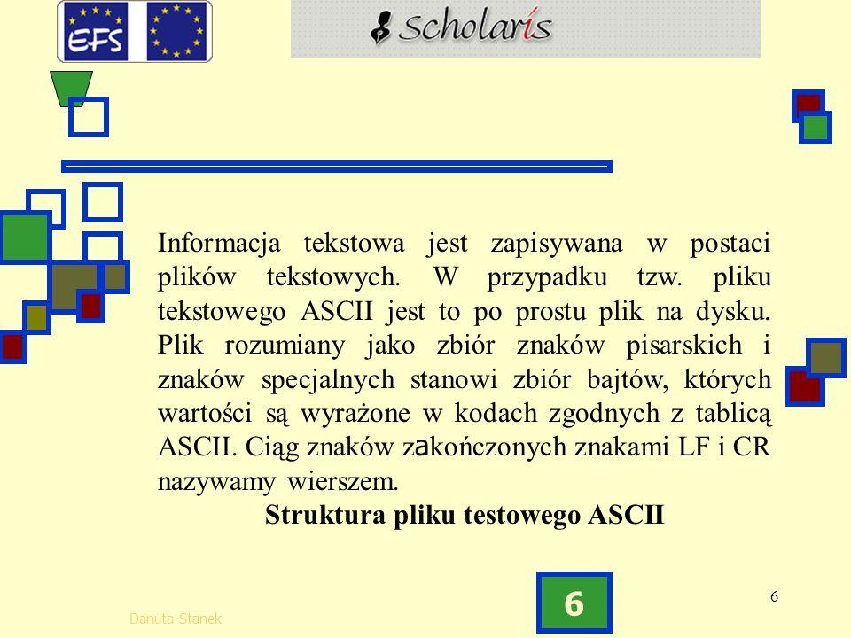 6 Danuta Stanek 6 Informacja tekstowa jest zapisywana w postaci plików tekstowych.