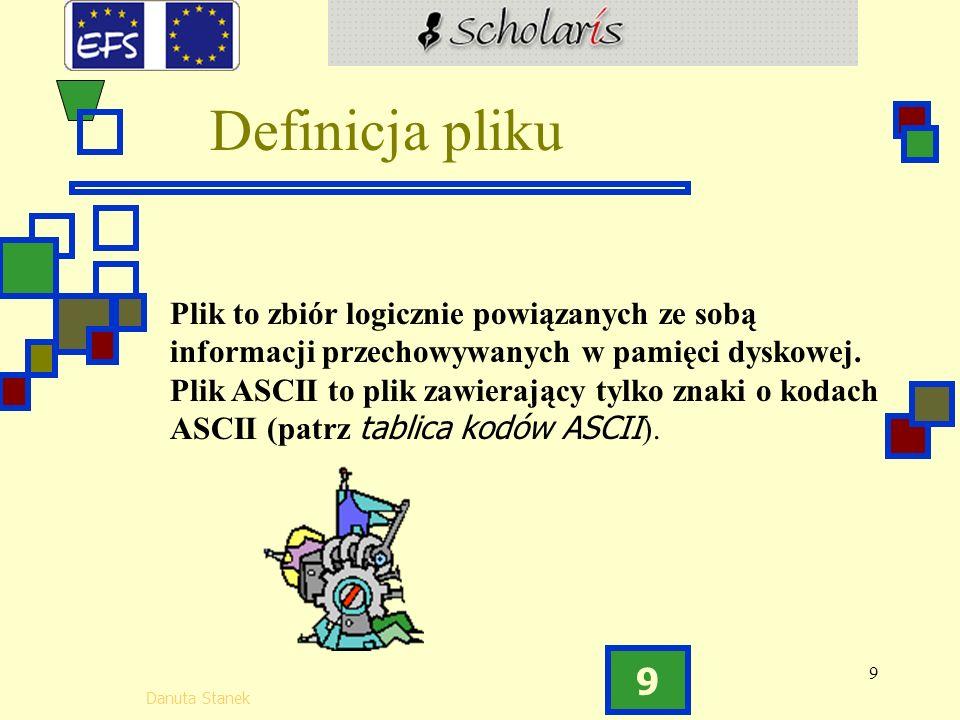 9 Danuta Stanek 9 Plik to zbiór logicznie powiązanych ze sobą informacji przechowywanych w pamięci dyskowej.
