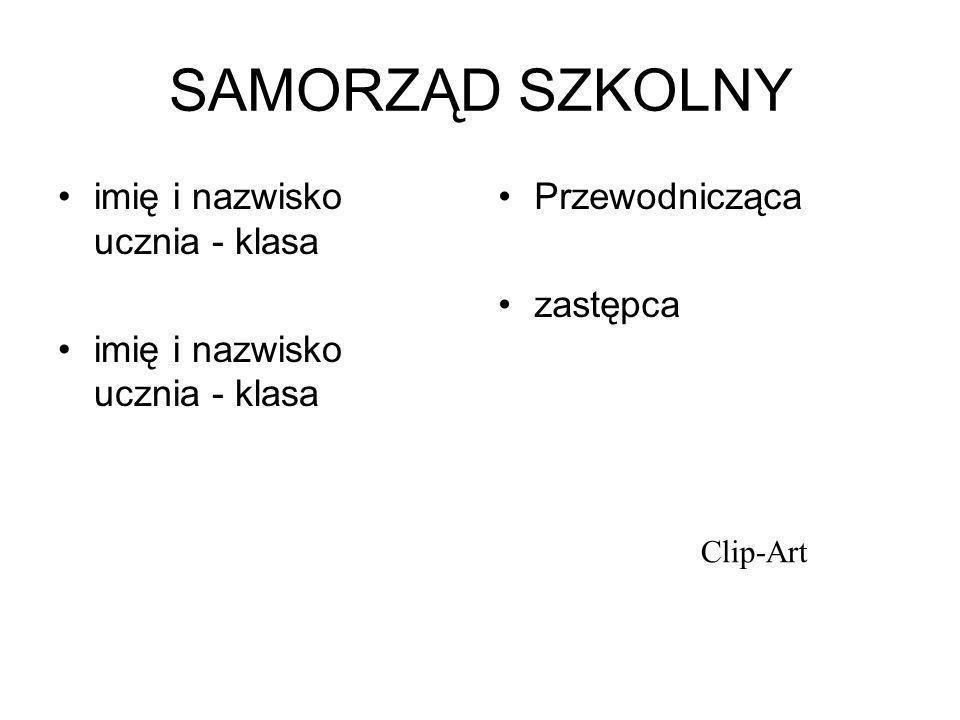 SAMORZĄD SZKOLNY imię i nazwisko ucznia - klasa Przewodnicząca zastępca Clip-Art