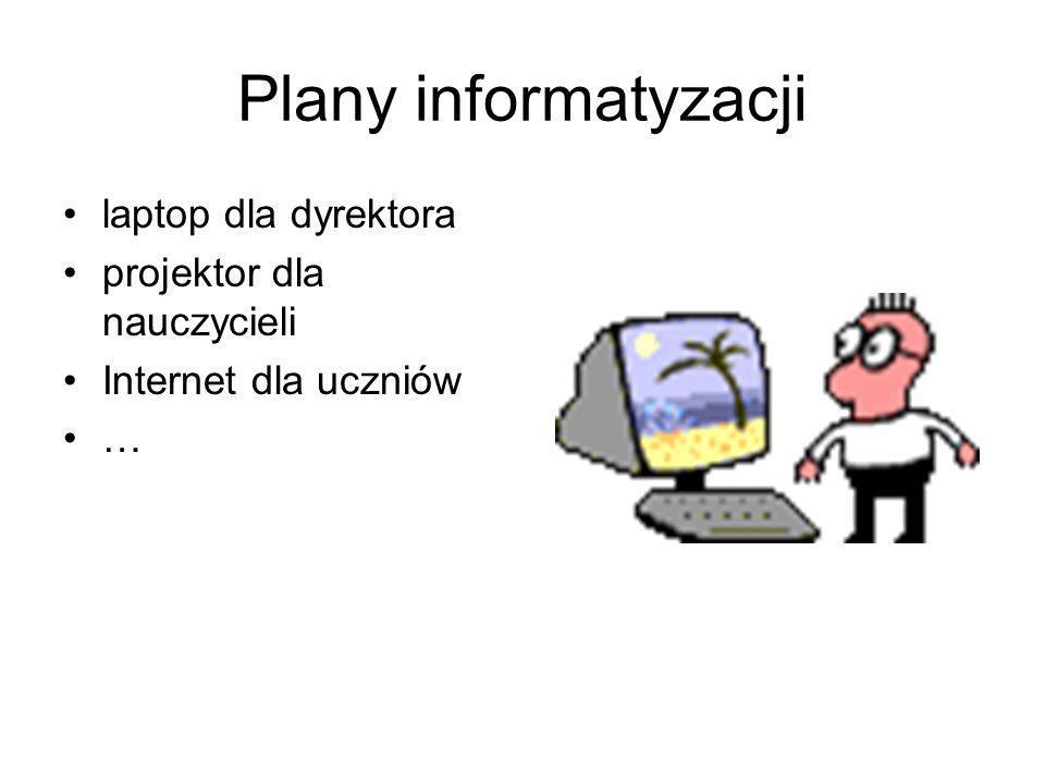 Plany informatyzacji laptop dla dyrektora projektor dla nauczycieli Internet dla uczniów …