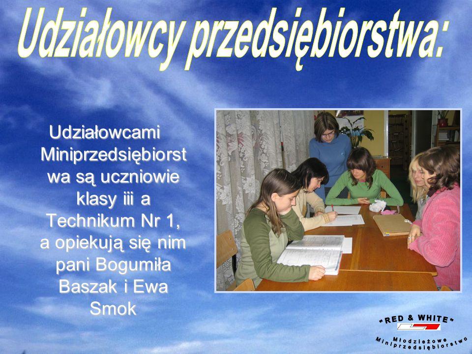 Udziałowcami Miniprzedsiębiorst wa są uczniowie klasy iii a Technikum Nr 1, a opiekują się nim pani Bogumiła Baszak i Ewa Smok