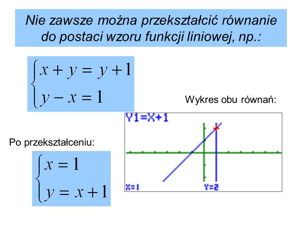 Nie zawsze można przekształcić równanie do postaci wzoru funkcji liniowej, np.: Po przekształceniu: Wykres obu równań:
