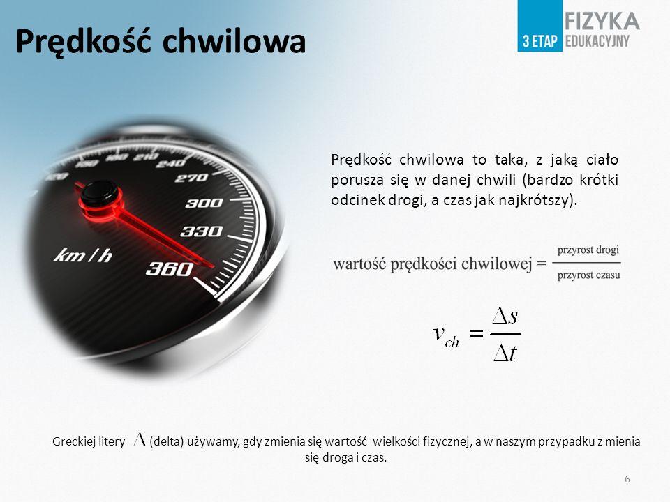 Prędkość chwilowa Prędkość chwilowa to taka, z jaką ciało porusza się w danej chwili (bardzo krótki odcinek drogi, a czas jak najkrótszy). Greckiej li