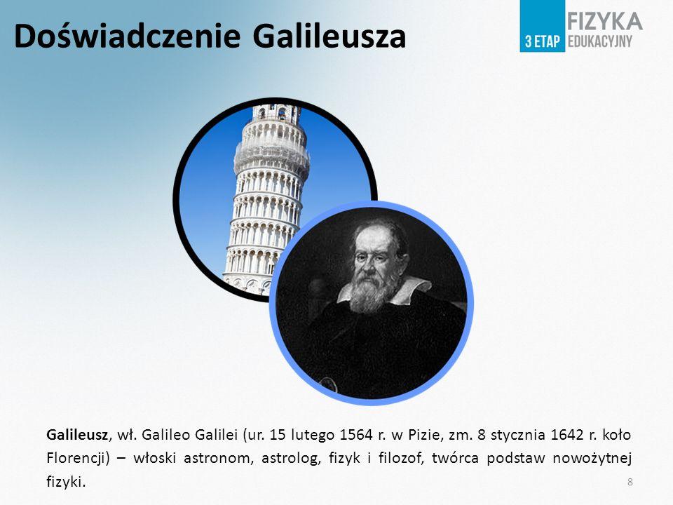 Doświadczenie Galileusza Galileusz, wł. Galileo Galilei (ur. 15 lutego 1564 r. w Pizie, zm. 8 stycznia 1642 r. koło Florencji) – włoski astronom, astr