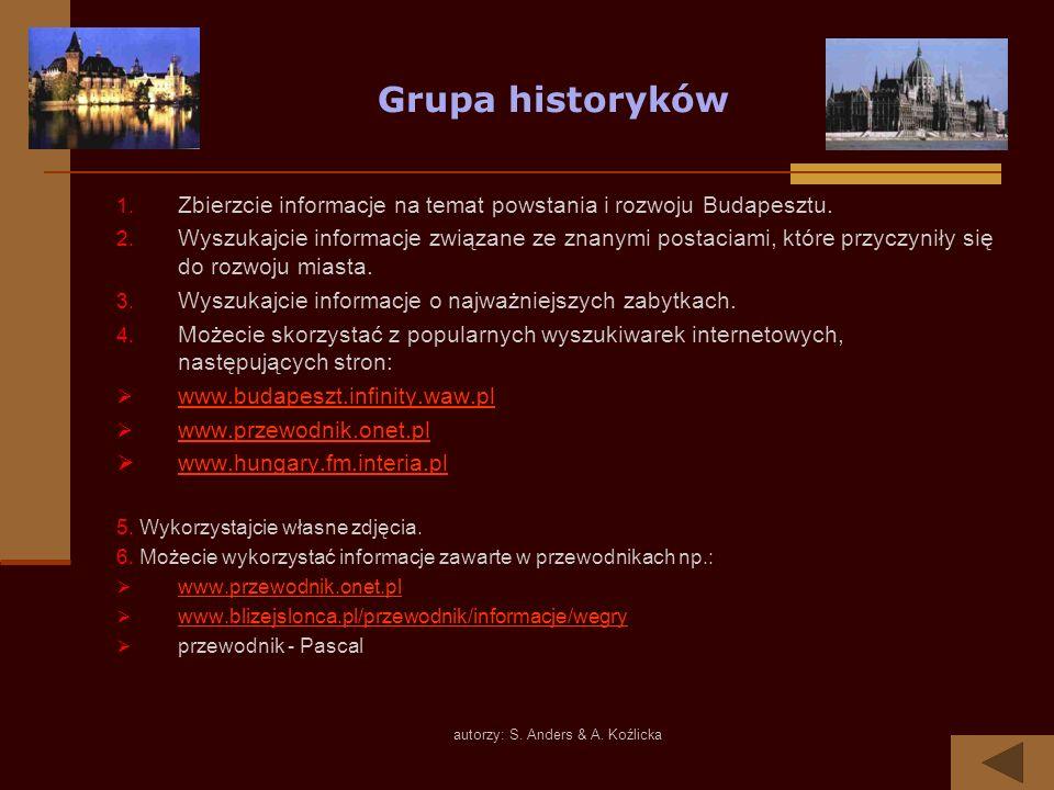 autorzy: S. Anders & A. Koźlicka Grupa historyków 1. Zbierzcie informacje na temat powstania i rozwoju Budapesztu. 2. Wyszukajcie informacje związane