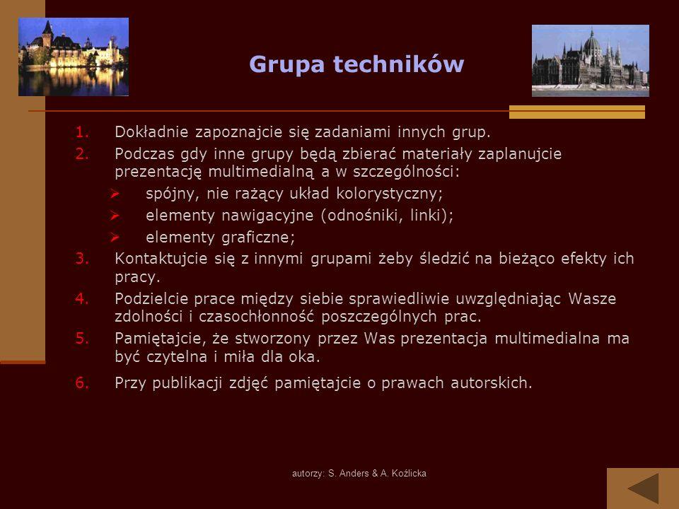 autorzy: S. Anders & A. Koźlicka Grupa techników 1.Dokładnie zapoznajcie się zadaniami innych grup. 2.Podczas gdy inne grupy będą zbierać materiały za