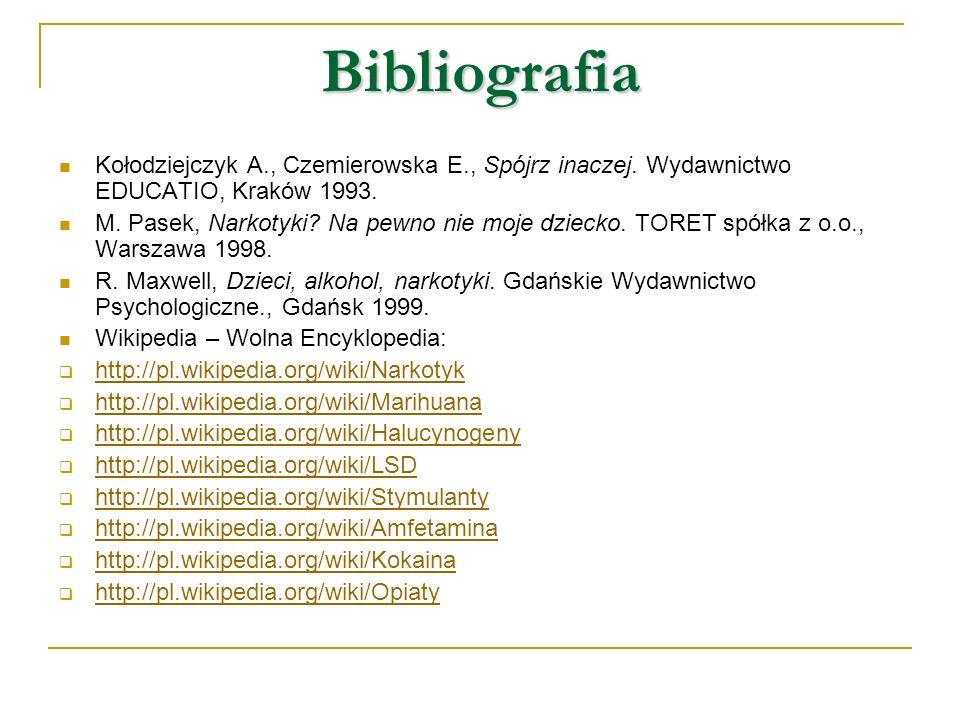 Bibliografia Kołodziejczyk A., Czemierowska E., Spójrz inaczej. Wydawnictwo EDUCATIO, Kraków 1993. M. Pasek, Narkotyki? Na pewno nie moje dziecko. TOR