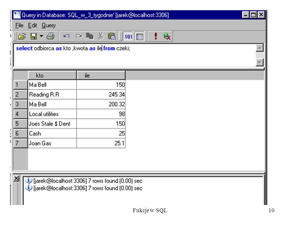 Fukcje w SQL10