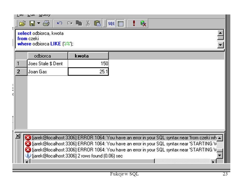 Fukcje w SQL23