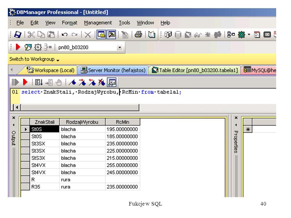 Fukcje w SQL40
