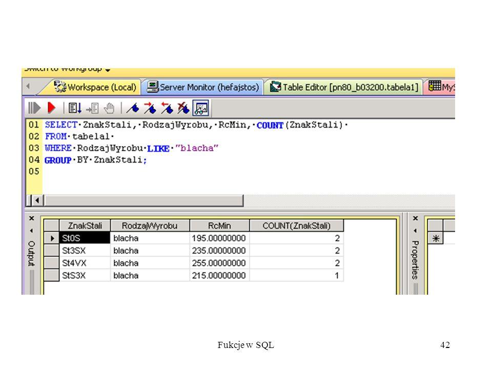 Fukcje w SQL42
