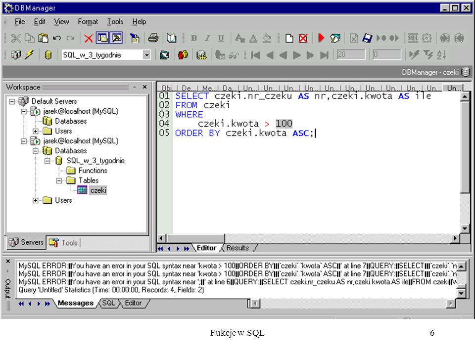 Fukcje w SQL17 Połączenie typu każdy z każdym