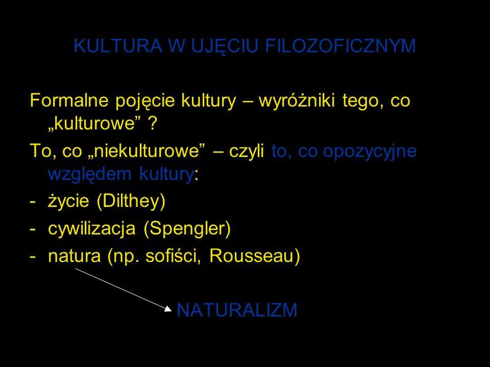 KULTURA W UJĘCIU FILOZOFICZNYM Formalne pojęcie kultury – wyróżniki tego, co kulturowe .
