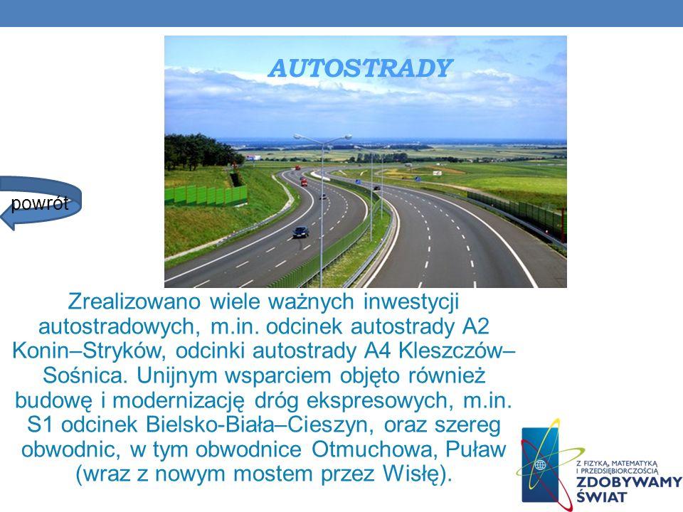 AUTOSTRADY Zrealizowano wiele ważnych inwestycji autostradowych, m.in. odcinek autostrady A2 Konin–Stryków, odcinki autostrady A4 Kleszczów– Sośnica.