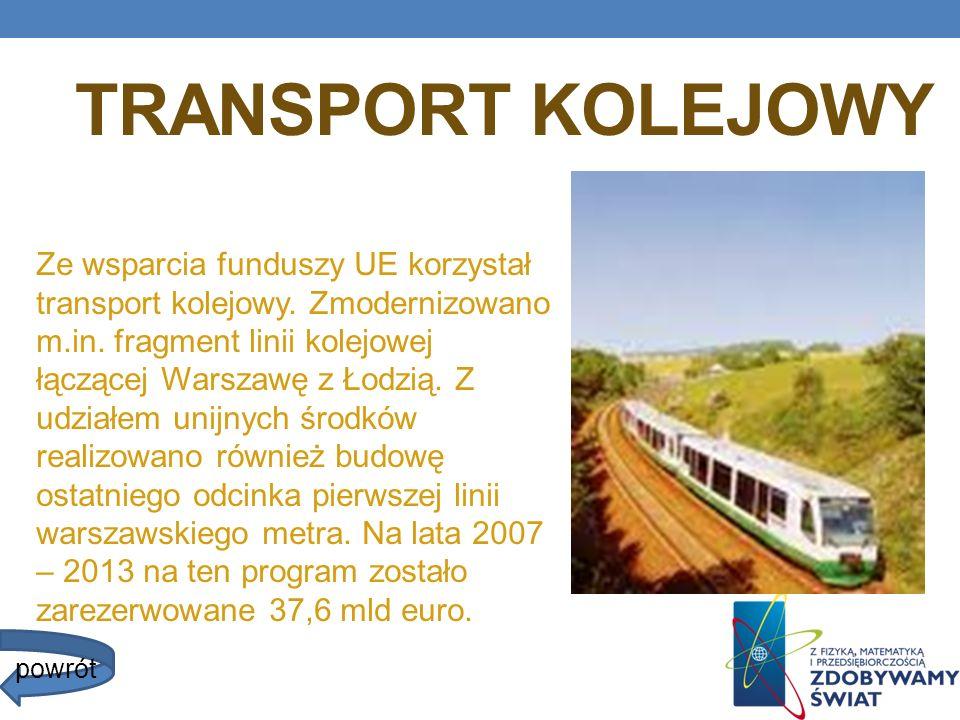 TRANSPORT KOLEJOWY Ze wsparcia funduszy UE korzystał transport kolejowy. Zmodernizowano m.in. fragment linii kolejowej łączącej Warszawę z Łodzią. Z u